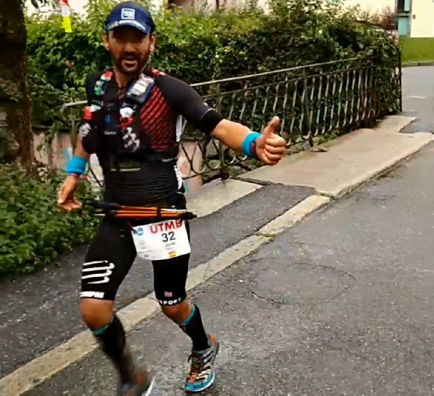 Jordi Gamito llegando a Chamonix (UTMB 2017)